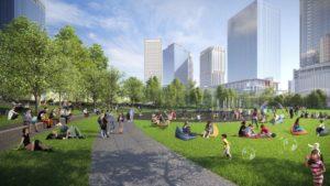 うめきた2期地区都市公園街区の完成予想図
