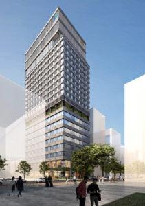ヒューリック福岡ビル建替計画の完成予想図