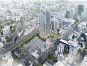 JR西宮駅南西地区再開発の完成予想図イメージ