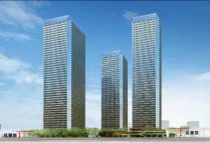 東高島駅北地区C地区棟計画の完成予想図イメージ