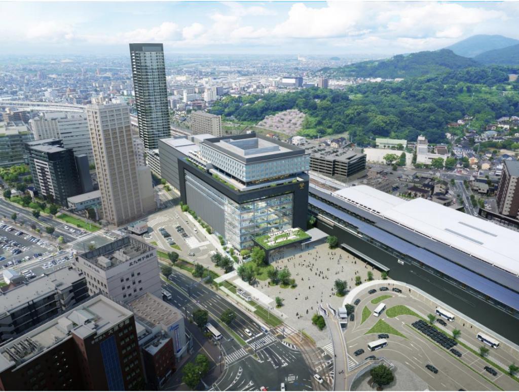 熊本駅ビルの完成予想図(鳥瞰)