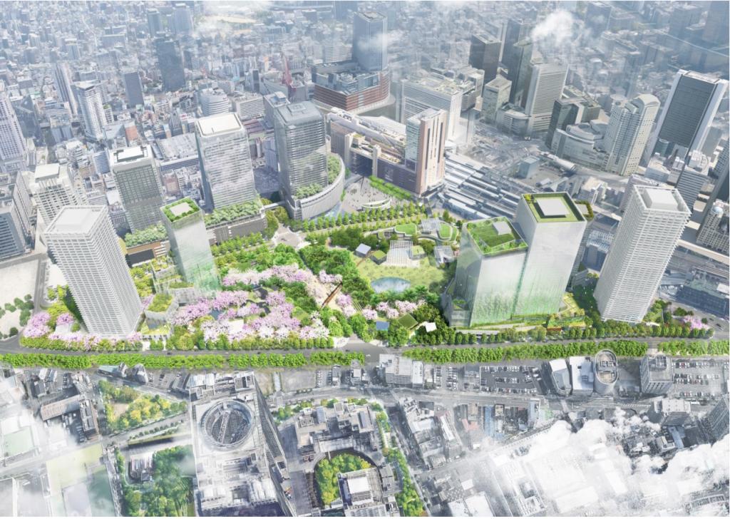 北梅田駅と一体的に開発が行われるうめきた2期開発プロジェクトの全体イメージ図