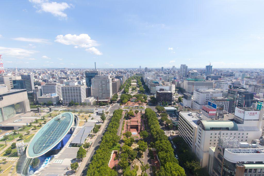 計画地を含む名古屋市栄の中心部の風景
