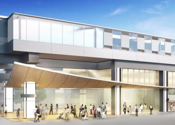 京王線連続立体交差事業により高架化される下高井戸駅の外観デザインイメージ