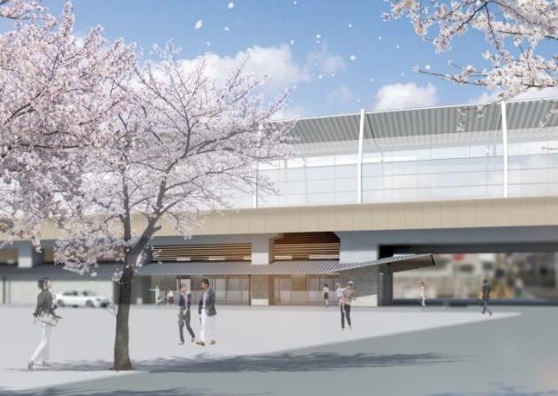 京王線連続立体交差事業により高架化される上北沢駅の外観デザインイメージ