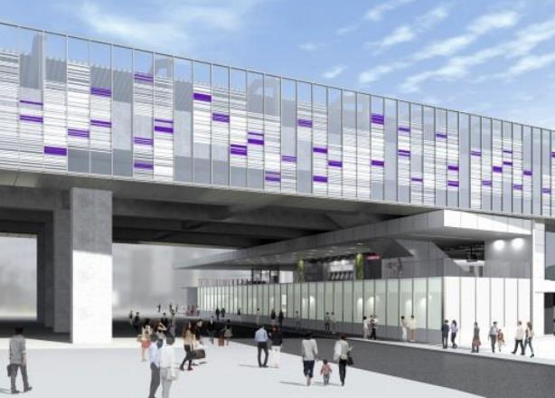 京王線連続立体交差事業により高架化される明大前駅の外観デザインイメージ