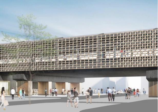 京王線連続立体交差事業により高架化される千歳烏山駅の外観デザインイメージ