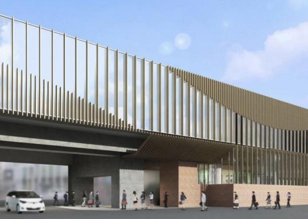 京王線連続立体交差事業により高架化される代田橋駅の外観デザインイメージ