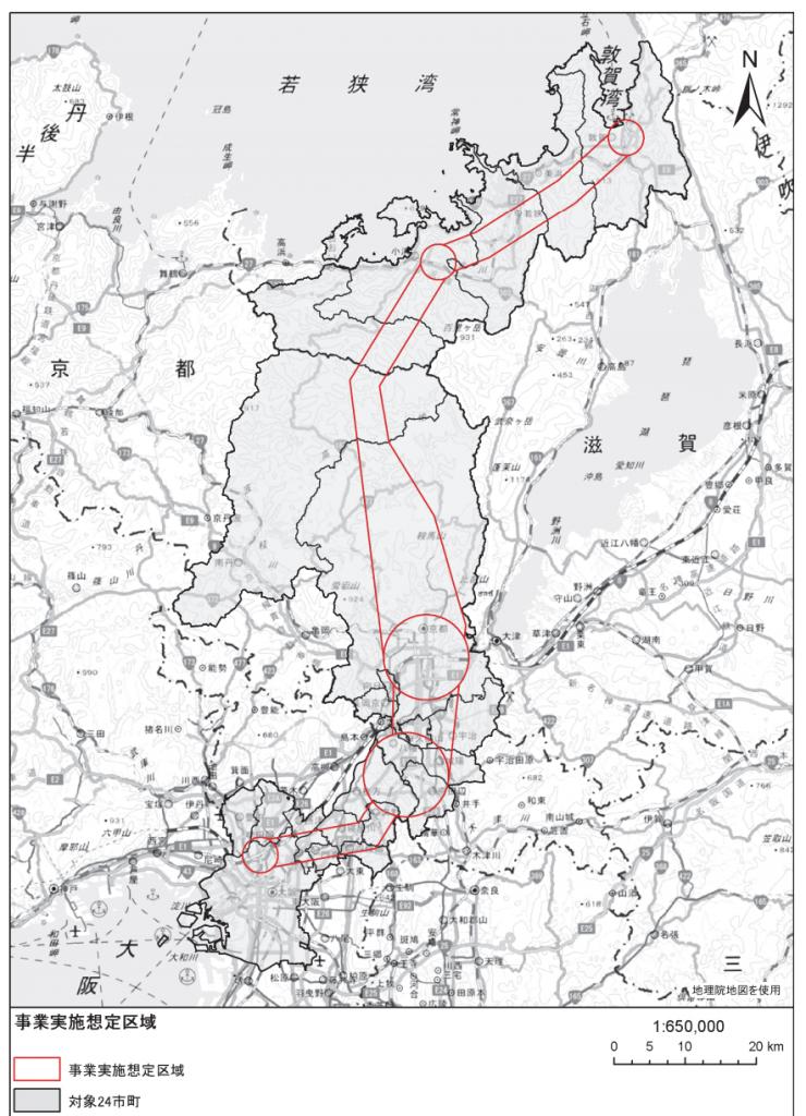 北陸新幹線の敦賀〜新大阪・京都・松井山手方面への延伸ルート案の画像