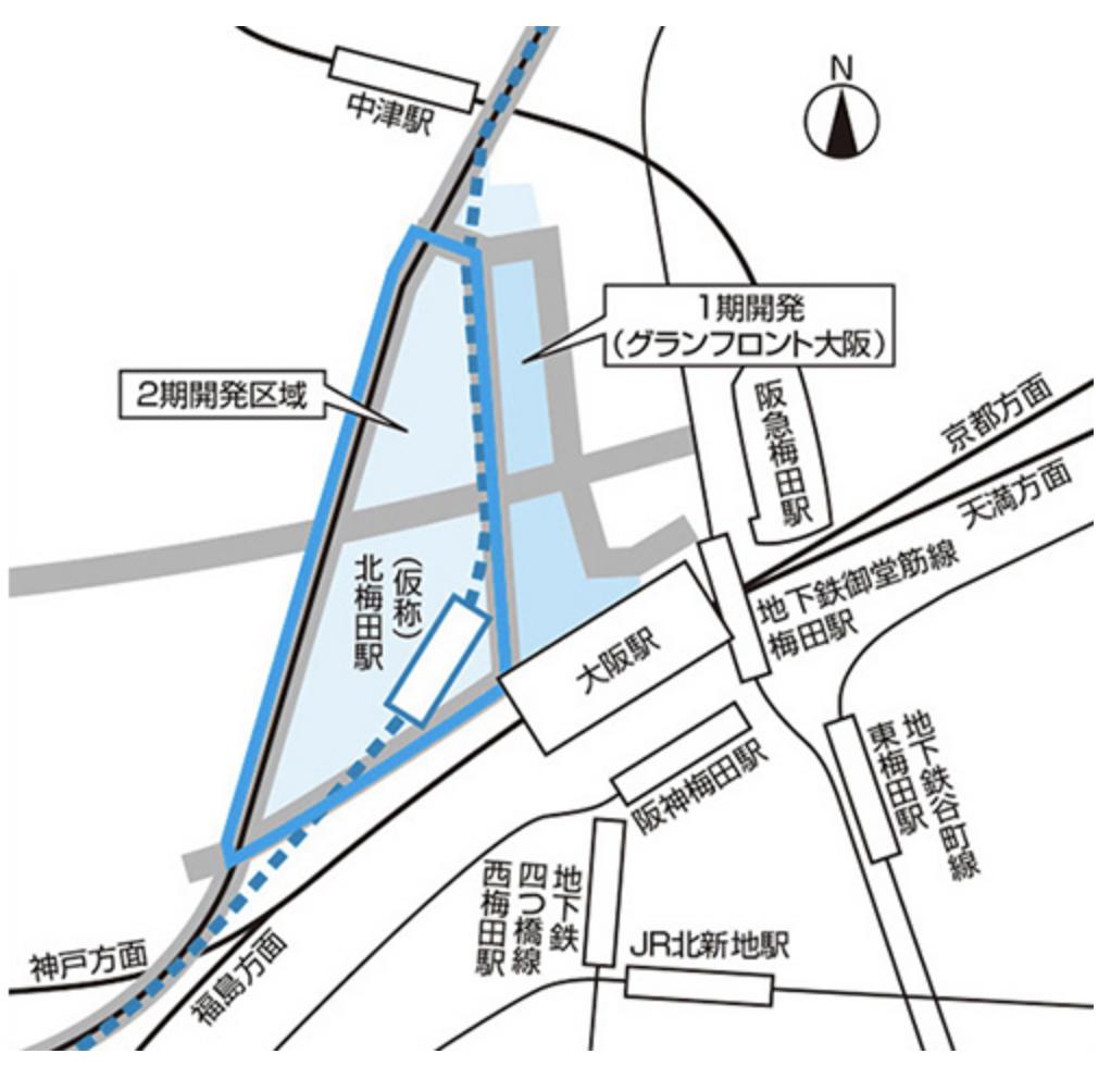 北梅田駅周辺のルート地図の画像