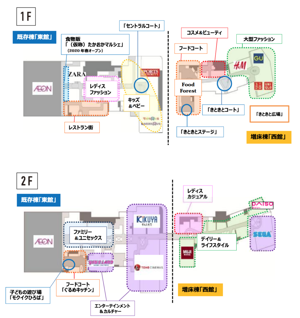 イオンモール高岡全体の構成図