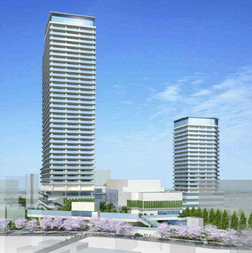 鷺沼駅前地区第一種市街地再開発事業の完成予想図