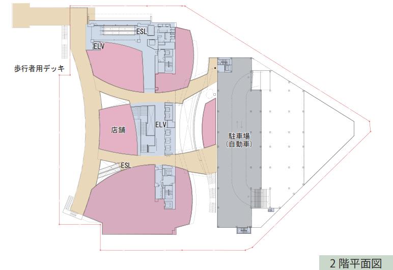 川越駅西口複合商業施設の2階平面図