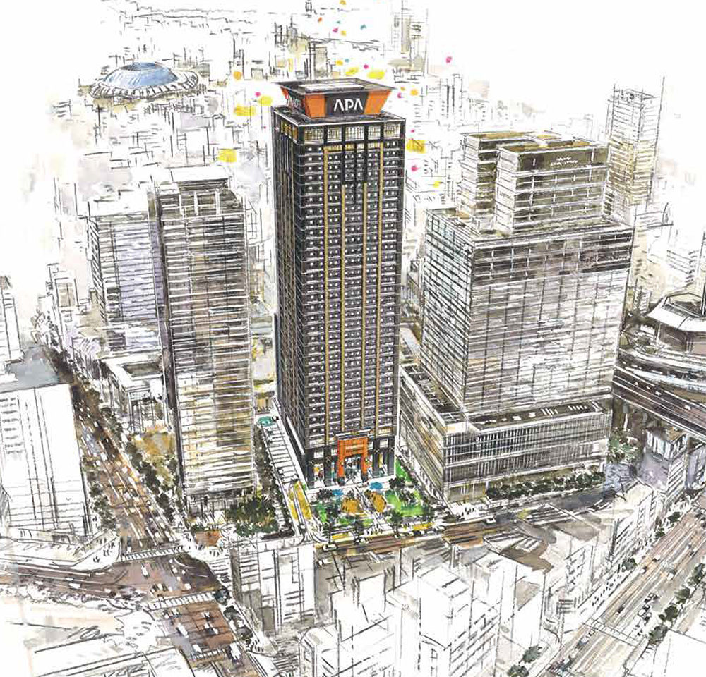 アパホテル大阪難波駅タワーの外観イメージ