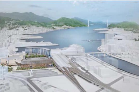 JR長崎駅ビルの鳥瞰イメージ