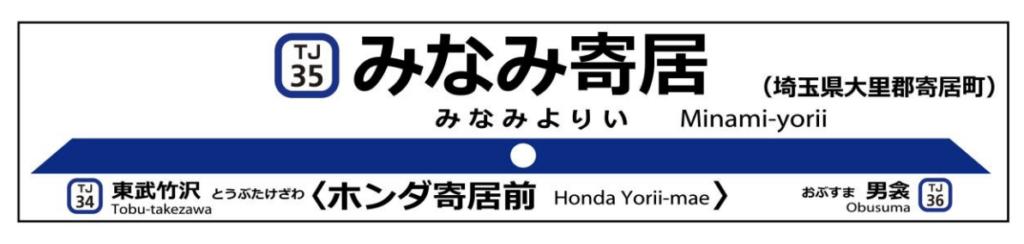 東武東上線新駅みなみ寄居駅の駅名標