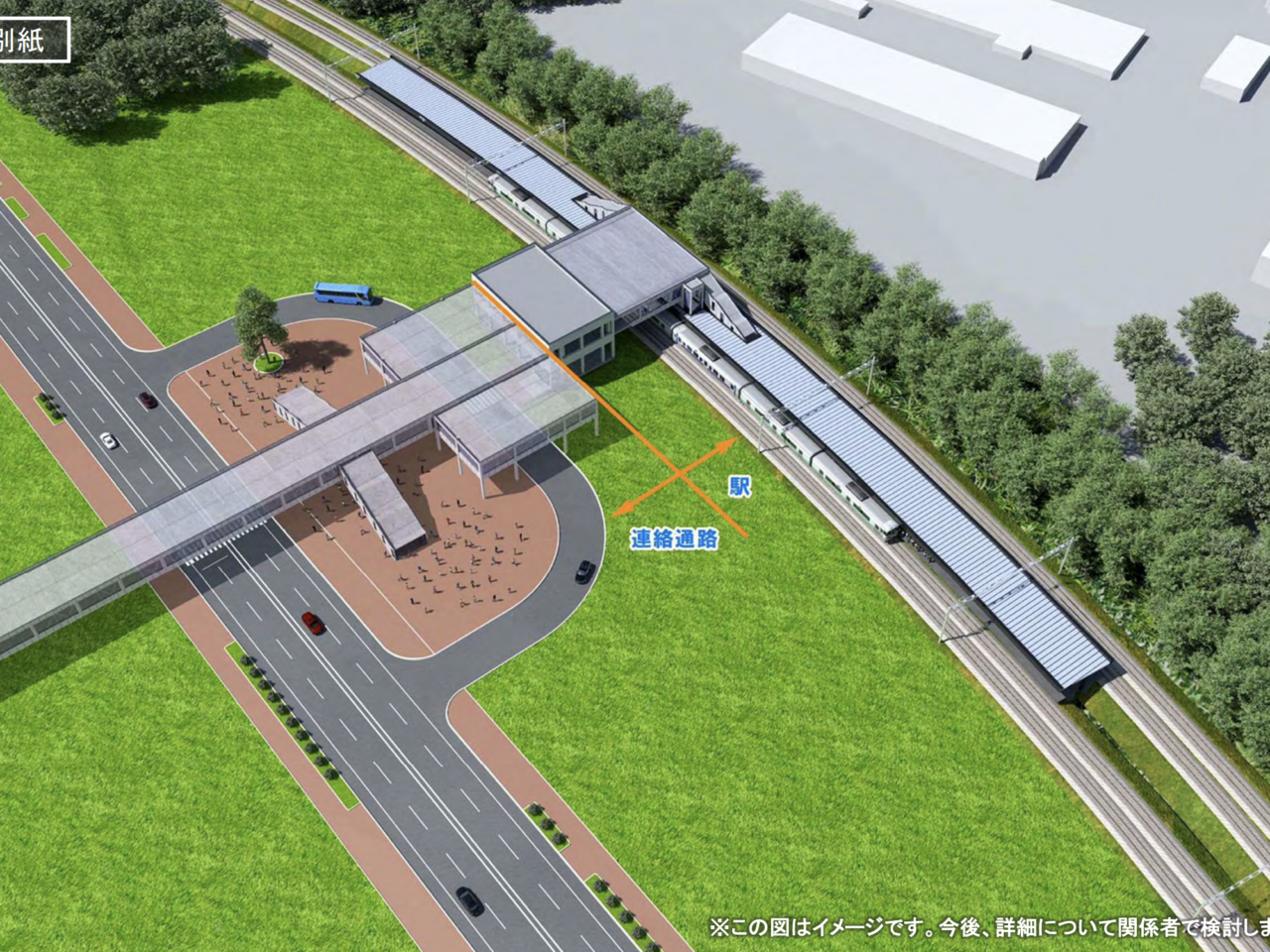 JR北海道の北広島市ボールパーク新駅のイメージパース