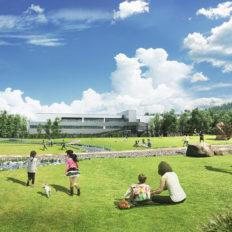 大町市のサントリー天然水北アルプス信濃の森工場の外観イメージ