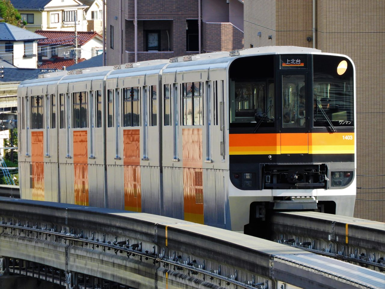 多摩都市モノレールの軌道と車両の写真