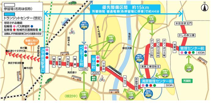 宇都宮市〜芳賀町間LRTの路線図