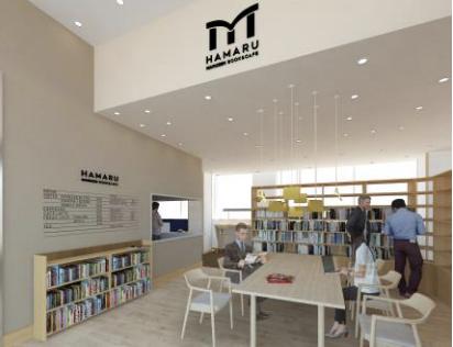 ラクシスフロントのブックカフェの完成予想図イメージ