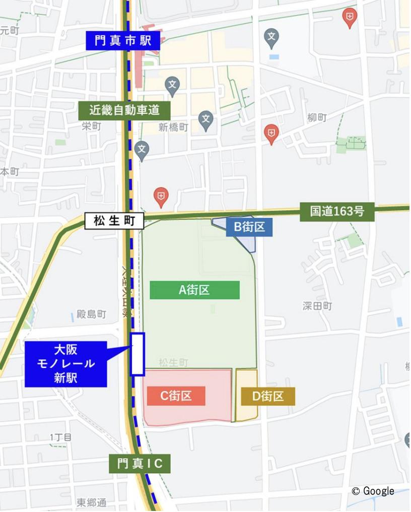 門真市のららぽーと計画の 位置図
