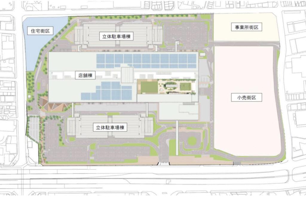 ららぽーと門真計画の施設構成図配置図