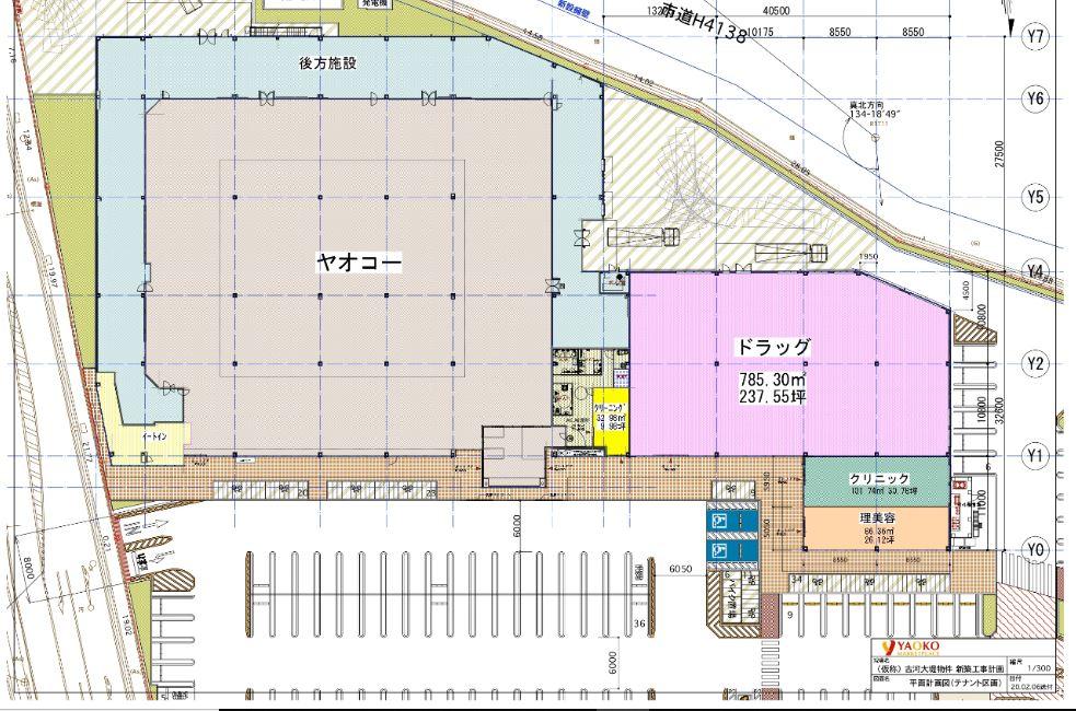 古河大堤商業施設の平面構成図