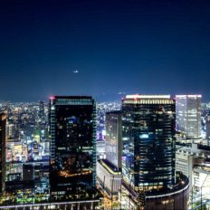関西地方の代表都市の大阪市の市街地の夜景