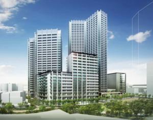 三田小山町西地区市街地再開発事業の完成予想図イメージ