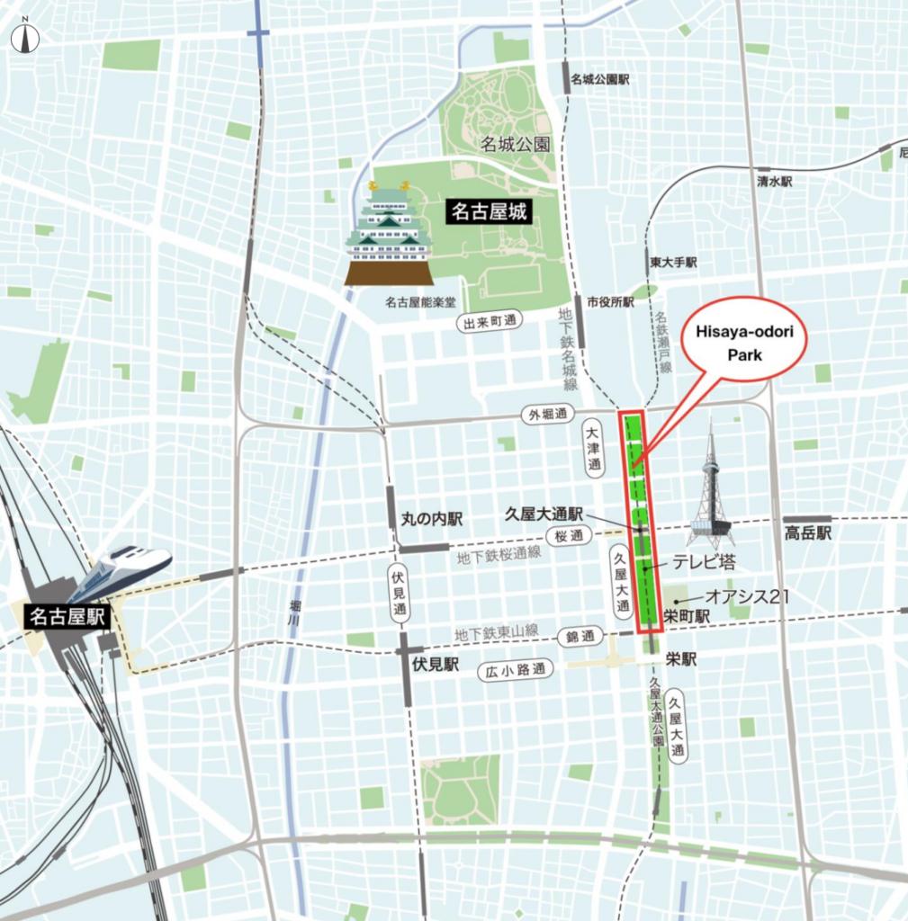 レイヤード久屋大通パークの周辺図