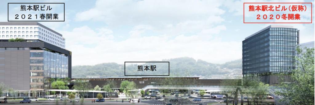 熊本駅ビル、JR熊本白川ビルの完成予想図イメージ