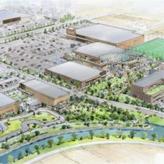 北方町のイオンタウンの商業施設の完成予想図イメージ