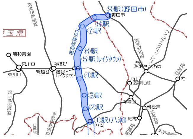 地下鉄8号線東京直結鉄道の途中駅概要図(構想段階)