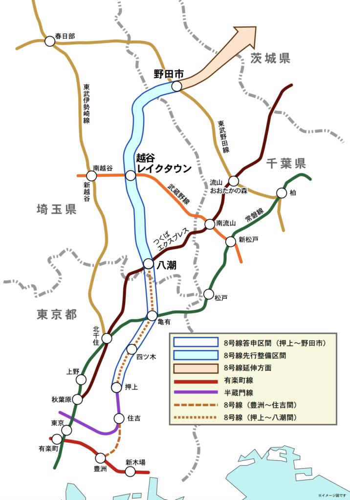 地下鉄8号線ルート概略図