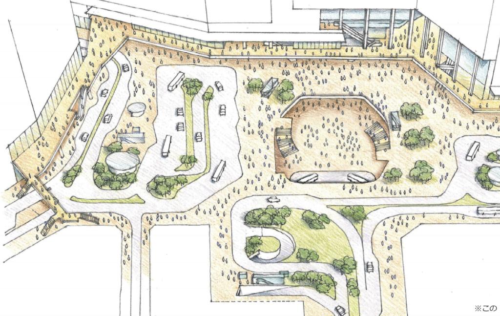 新宿駅西口側の駅前広場の将来イメージ