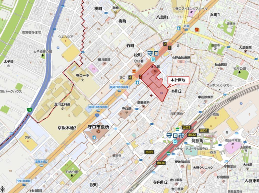 イオンタウン守口の位置図