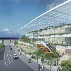 ゆめが丘駅前の商業施設計画の完成予想図