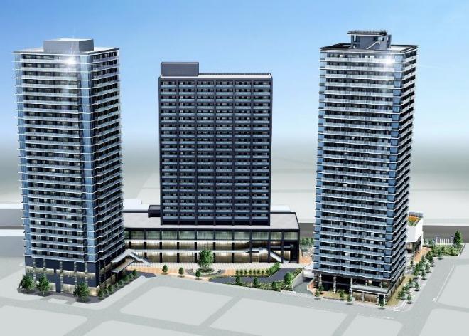 蕨駅西口地区第一種市街地再開発事業の完成予想図
