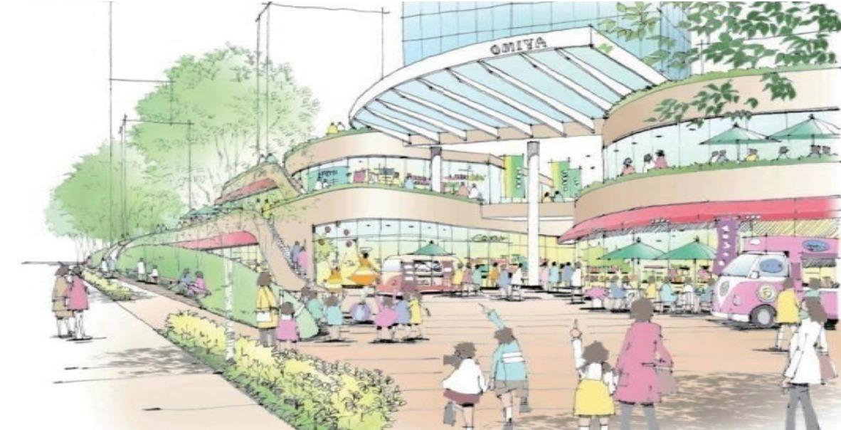 大宮駅西口第3-A・D地区第一種市街地再開発事業の完成予想図広場イメージ