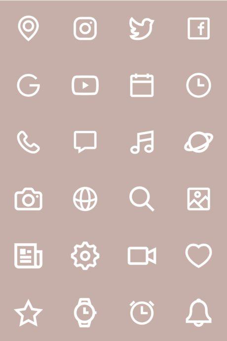ベージュのiPhoneアイコン素材
