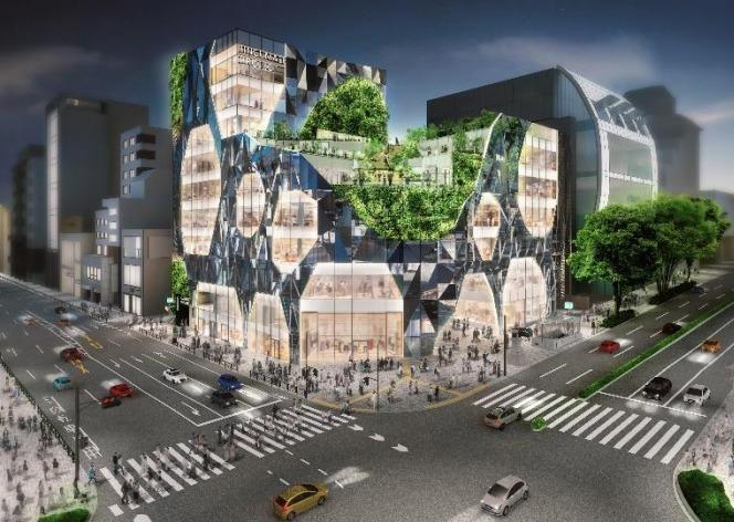 神宮前六丁目地区第一種市街地再開発事業の完成予想図外観3