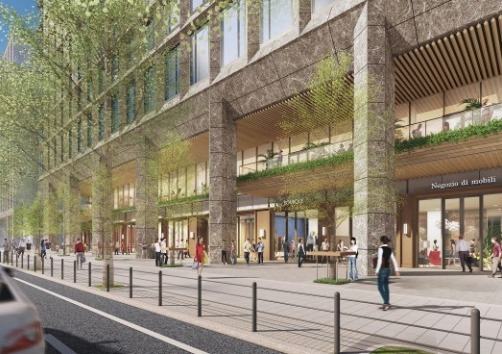 淀屋橋駅西地区第一種市街地再開発事業の低層部外観完成予想図