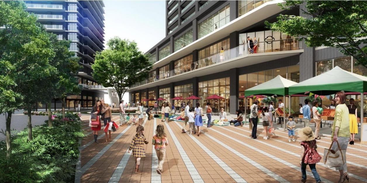 「蕨駅西口地区第一種市街地再開発事業の低層部の完成予想図3