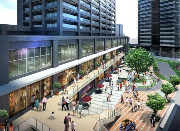 「蕨駅西口地区第一種市街地再開発事業の低層部の完成予想図1