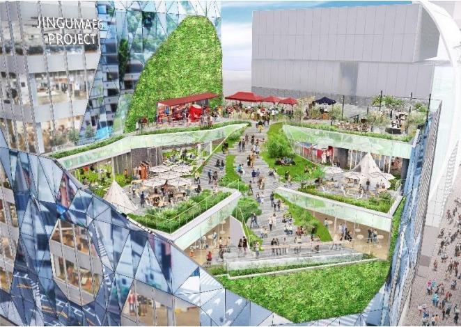 神宮前六丁目地区第一種市街地再開発事業の完成予想図外観1