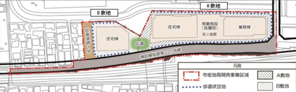 囲町東地区第一種市街地再開発事業の配置図