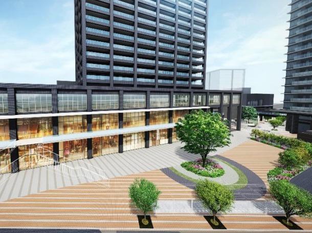 「蕨駅西口地区第一種市街地再開発事業の低層部の完成予想図2