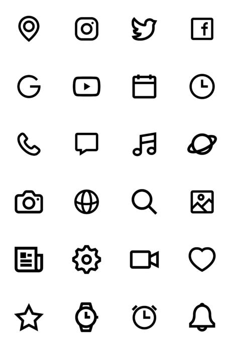 白黒モノクロのiPhoneアイコン素材