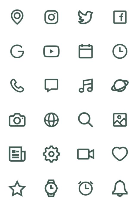 白背景にモスグリーンのiPhoneアイコン素材のサンプル